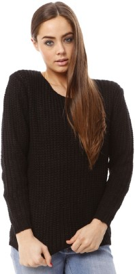 Lioness Woven Round Neck Party Women's Black Sweater