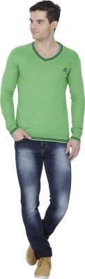Alay Solid V-neck Casual Men's Green Sweater