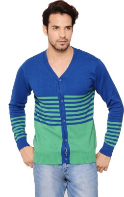 Northern Lights Striped V-neck Men's Green Sweater