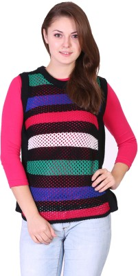 Miss Grace Striped Round Neck Casual Women's Multicolor Sweater