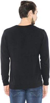 Status Quo Self Design V-neck Casual Men's Black Sweater