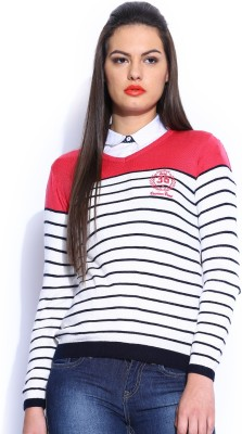 Harvard Self Design V-neck Casual Women,s Dark Blue Sweater