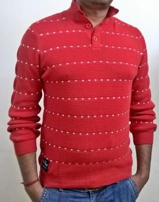 Locus Classicus Solid Turtle Neck Men's Red Sweater