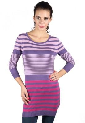 Again Striped V-neck Casual Women's Purple Sweater