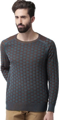 Mast & Harbour Self Design Round Neck Casual Men Blue, Brown Sweater