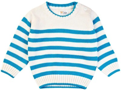 Mom & Me Striped Round Neck Casual Boy's Blue Sweater