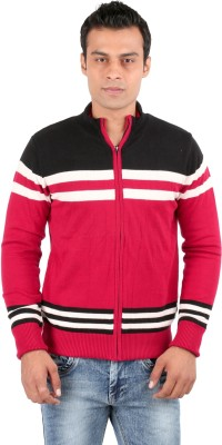 Oxemberg Striped V-neck Formal Men's Red Sweater