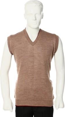Leedo Solid V-neck Casual Men's Reversible Maroon, Beige Sweater