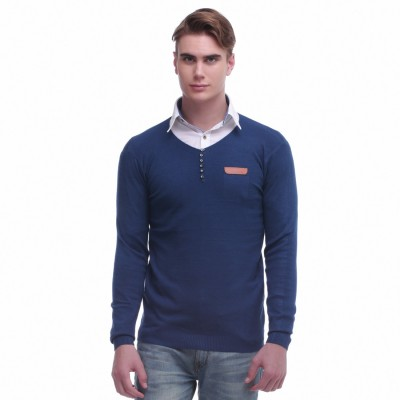 Jogur Self Design Round Neck Men's Blue Sweater