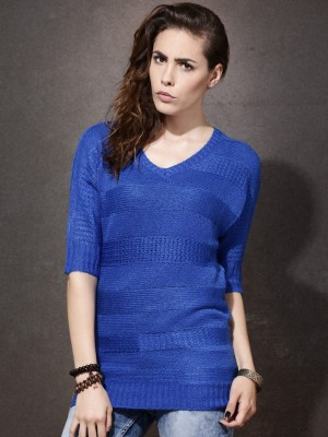 Roadster Striped V-neck Casual Women's Blue Sweater