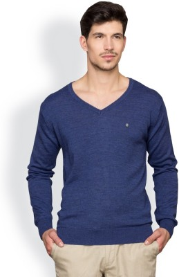 Blackberrys Solid V-neck Party Men's Blue Sweater