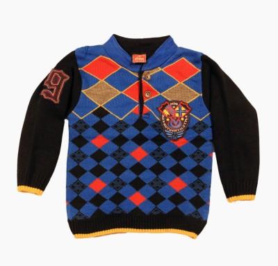 Kidax Argyle, Solid Turtle Neck Casual, Festive, Party Boy's Multicolor Sweater