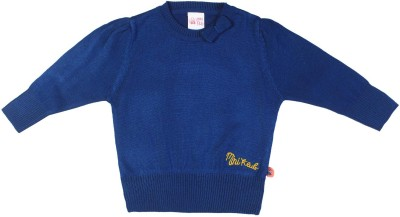 FS Mini Klub Solid Round Neck Girl's Blue Sweater