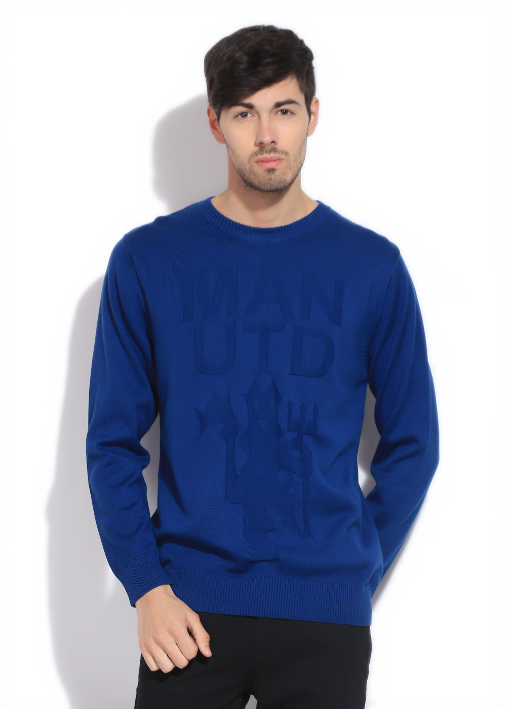 Manchester United Solid Casual Men Blue Sweater