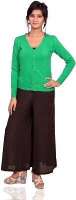 Vama Solid V-neck Women's Green Sweater