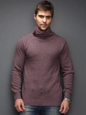 HRX by Hrithik Roshan Self Design Turtle Neck Casual Men's Maroon Sweater