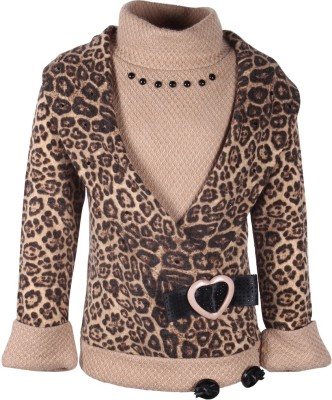 Cutecumber Animal Print Turtle Neck Party Girl's Brown Sweater