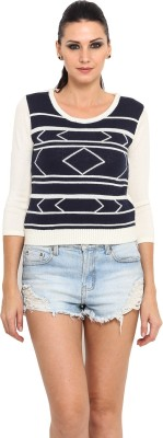 Northern Lights Printed Round Neck Casual Women's Blue Sweater