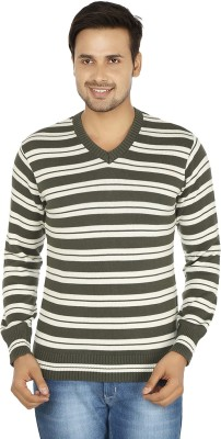 Fizzaro Striped V-neck Casual Men's Grey, White Sweater