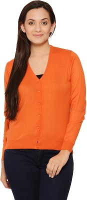 Fugue Solid V-neck Casual Women's Orange Sweater