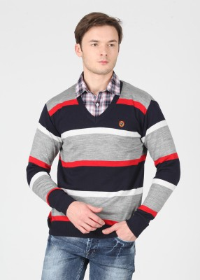 American Swan Striped V-neck Casual Men's Red, Grey, Blue Sweater