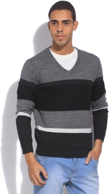 U.S. Polo Assn. Striped V-neck Casual Mens Black, Grey Sweater