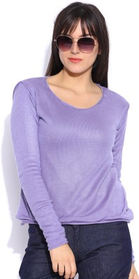 Pepe Jeans Solid Round Neck Casual Women,s Purple Sweater