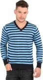Oxemberg Striped V-neck Casual Men Blue ...