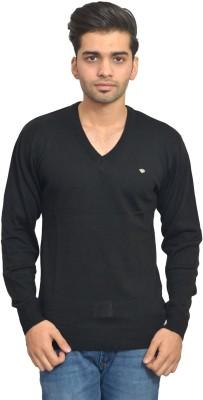 Ossell Solid V-neck Men,s Black Sweater