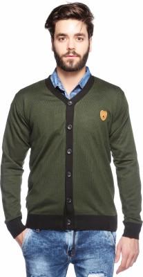 Aeroglide Solid V-neck Casual Men's Green Sweater