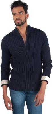 Provogue Solid Turtle Neck Casual Men's Dark Blue Sweater