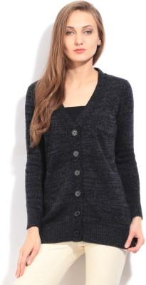Arrow Self Design Casual Women's Grey Sweater
