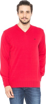 Status Quo Solid V-neck Casual Men's Red Sweater