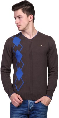 TSAVO Argyle V-neck Casual Men's Brown Sweater