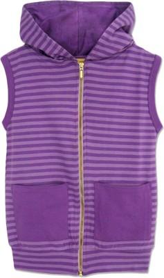 A.T.U.N. Striped Round Neck Casual Girl's Purple Sweater