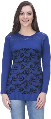 90 WEST Solid Round Neck Casual Women's Blue Sweater