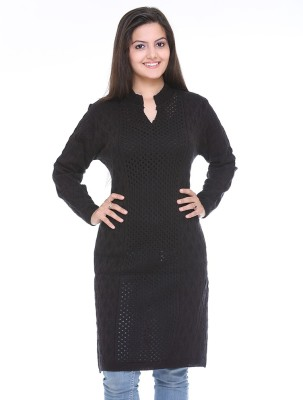 Cee-For Checkered Turtle Neck Casual Women's Black Sweater