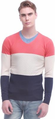 Jogur Self Design V-neck Men's Orange Sweater