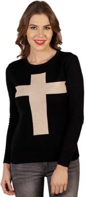 Aussehen Printed Round Neck Casual Women's Black, Beige Sweater