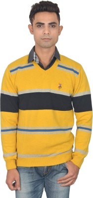 Zhomro Striped V-neck Casual Men,s Yellow Sweater