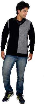 Alpine Enterprises Solid V-neck Men's Black, Grey Sweater