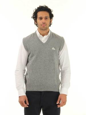 Monte Carlo Solid V-neck Casual Men's Grey Sweater