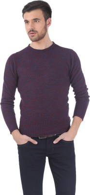 Basics Solid Round Neck Casual Men's Red Sweater
