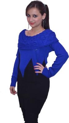 Lovanyaa Striped Round Neck Women's Black, Blue Sweater