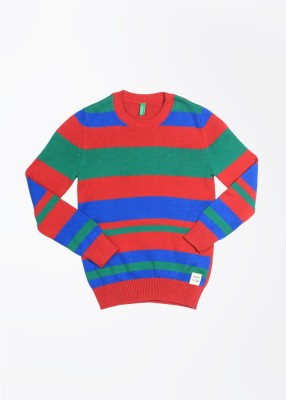 United Colors of Benetton Striped Round Neck Casual Girl's Blue, Green, Red Sweater