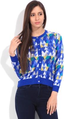 Lee Geometric Print Casual Women's Blue Sweater
