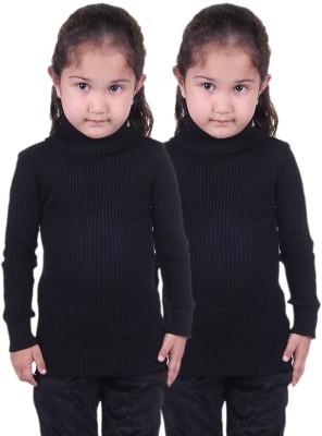 Lienz Striped Turtle Neck Casual Girl's Black Sweater