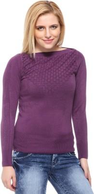 Fasnoya Self Design Round Neck Casual Women's Purple Sweater