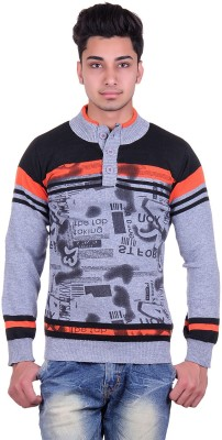 Urban Street Solid, Striped, Graphic Print Turtle Neck Casual, Party Men's Grey Sweater