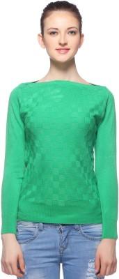 Fasnoya Woven Round Neck Casual Women's Light Green Sweater